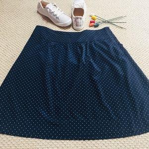NWOT Navy w/ Cream Polka Dot A-Line Skirt (L)